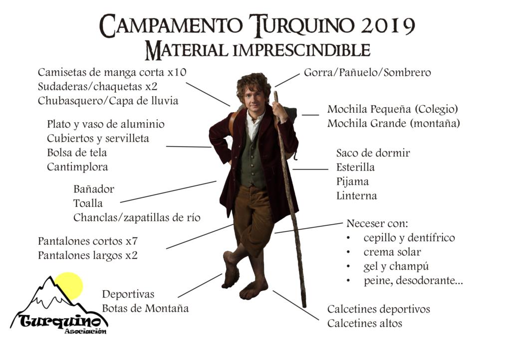 material campamento Turquino 2019